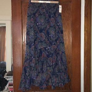 Paisley print hi-lo skirt